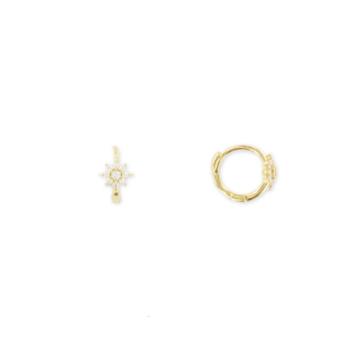 bijoux tendance boucles d'oreilles mini créoles plaqué or flocon fleur zircon bohème