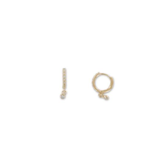 bijoux tendance boucles d'oreilles mini créoles plaqué or pendentif strass zircon bohème