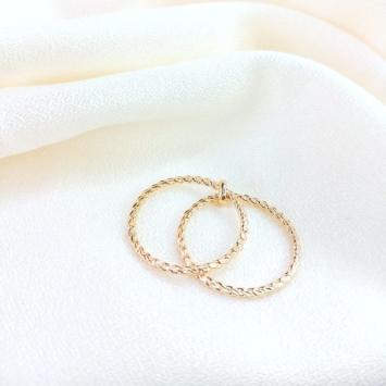 bague double anneaux fin et délicate bague à superposer plaqué or bijoux tendance