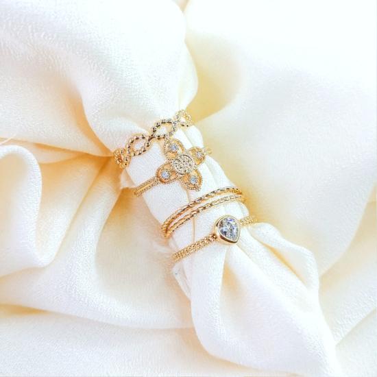 bague anneau billes ajourée fin et délicate bague à superposer plaqué or bijoux tendance