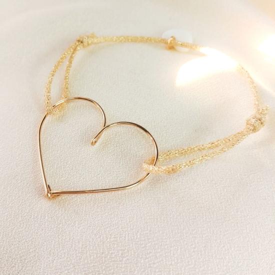 bracelet cordon métallisé coeur or gold filled bijoux tendance fait main france créateur