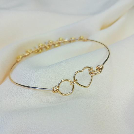 bracelet jonc fil or gold filled anneau de réglage coeur fait main bijoux createur france