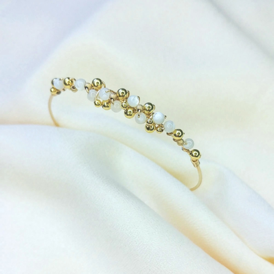 bracelet jonc tissage broderie perles semainiers fait main or fil gold filled bijoux createur instagram france fait main