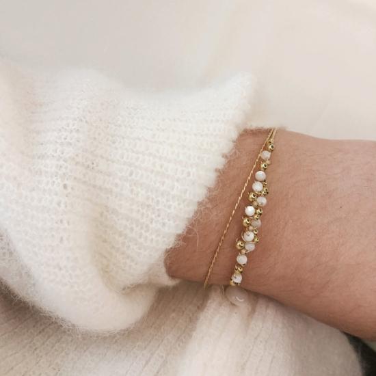bracelet jonc tissage broderie perles semainiers fait main or fil gold filled bijoux createur france