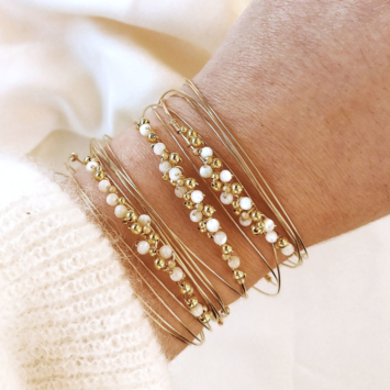 bracelets joncs tissage broderie perles semainiers fait main or fil gold filled bijoux createur france