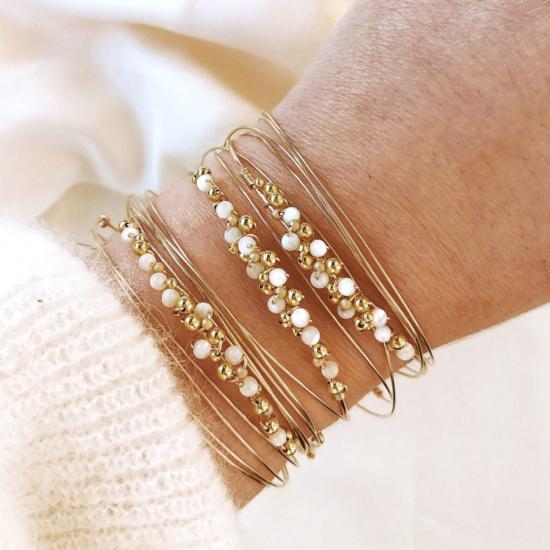 bracelets joncs tissage broderie perles semainiers fait main or fil gold filled bijoux createur france
