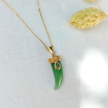 collier corne pierre gemme aventurine tendance bijoux bohème chic or
