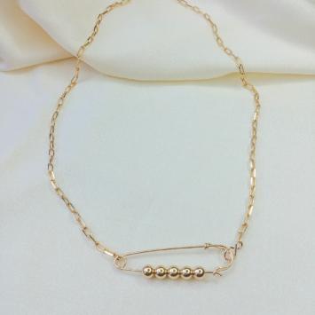 collier épingle à nourrice punk chic or gold filled bijoux tendance fait main france créateur