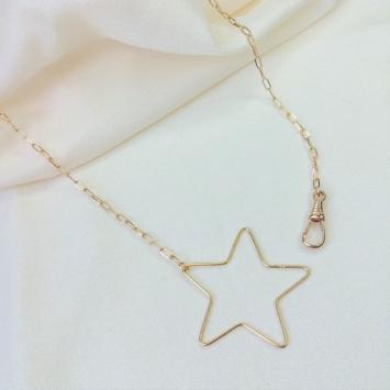 collier étoile fermoir mousqueton gros maillons maille XL or bijoux tendance fait main france créateur