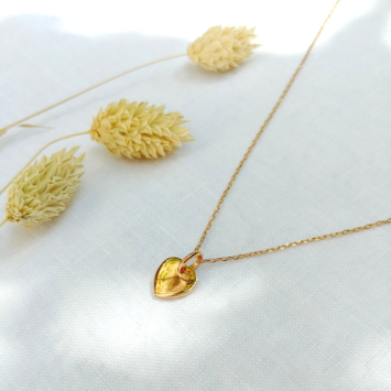 bijoux tendance collier pendentif coeur plaqué or