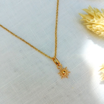 collier petit soleil plaqué or ras de cou
