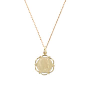 collier pendentif vierge marie madonne médaille religieuse plaqué or bijoux tendance vintage