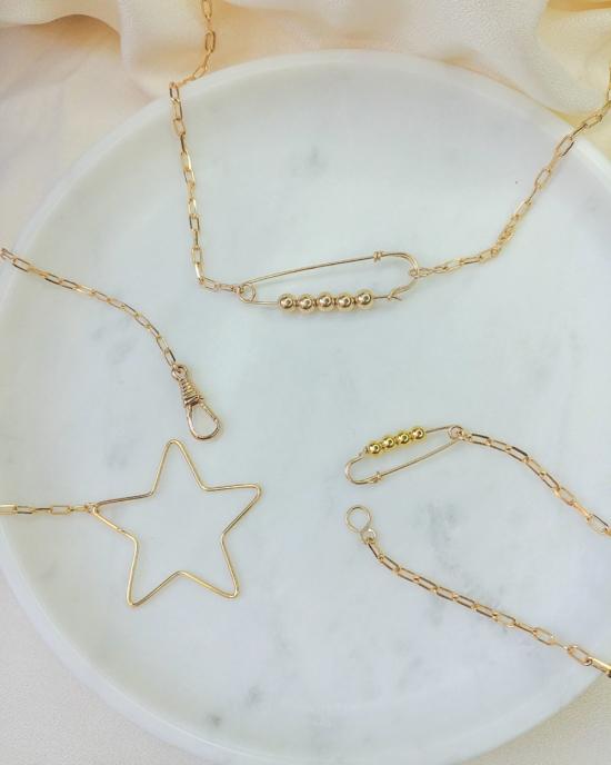 collier étoile fermoir mousqueton épingle à nourrice gros maillons maille XL or bijoux tendance fait main france créateur