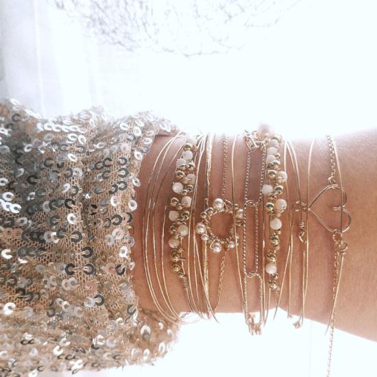 bracelets joncs coeur épingle à nourrice cauri or gold filled fait main createur instagram france