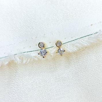 bijoux boucles d'oreilles plaqué or simple zircon scintillante accumulation