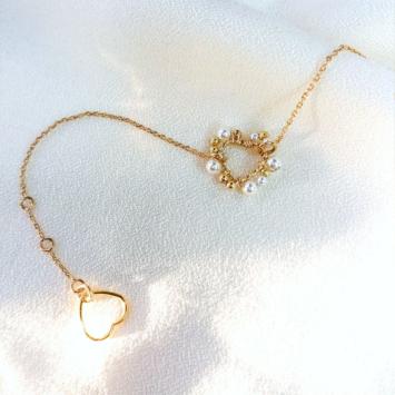 bracelet coeur tissage broderie perles fait main or fil gold filled bijoux createur instagram france fait main