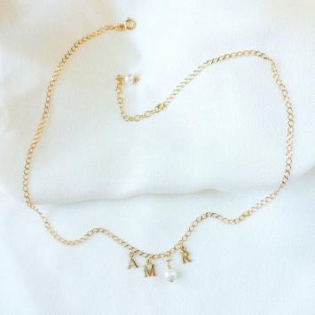 collier lettres amor perle or gold filled bijoux tendance fait main france créateur