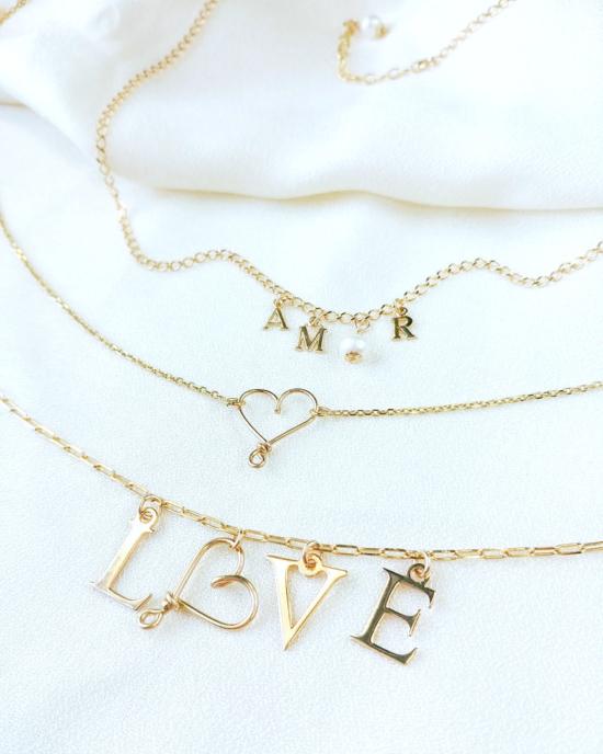 collier lettres LOVE coeur or gold filled bijoux tendance fait main france créateur