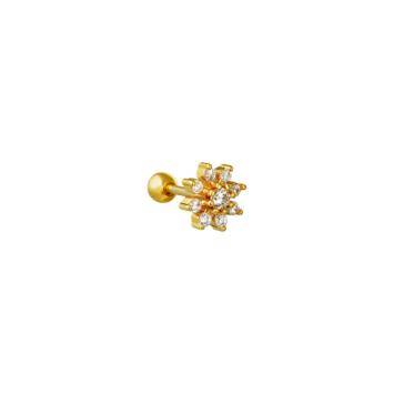 bijoux boucles d'oreilles plaqué or simple fleur zircon scintillante accumulation