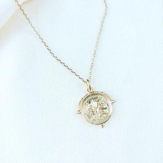 collier tendance pendentif médaille pièce antique grec Grèce or