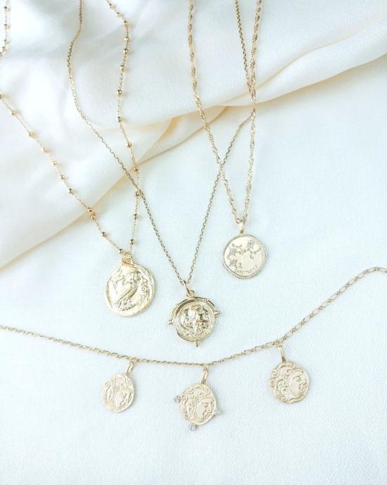 colliers tendance bohème pendentifs médailles pièce grigris plaqué or