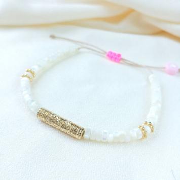 bracelet heishi nacre tube bali bijoux or fait main bijoux créateur france
