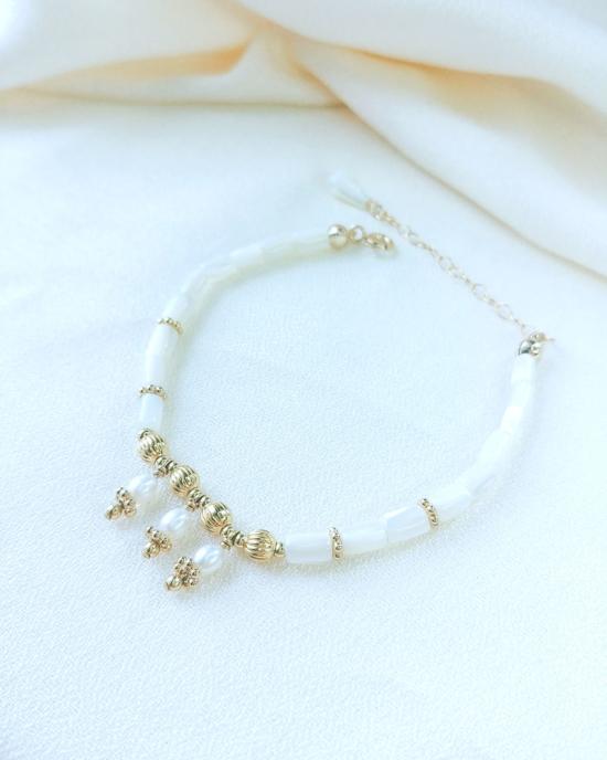 bracelet heishi nacre perle eau douce bijoux or fait main bijoux créateur