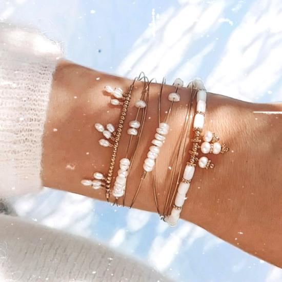 bracelet heishi nacre jonc perle eau douce bijoux or fait main bijoux créateur