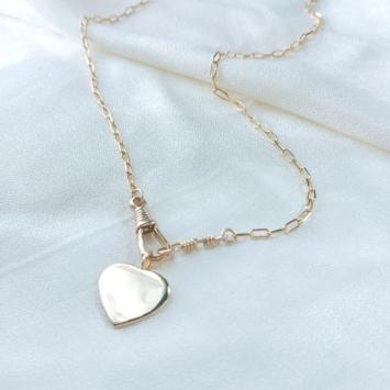 collier coeur fermoir mousqueton gros maillons maille XL or bijoux tendance fait main france créateur