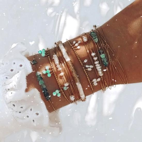 accumulation bracelets joncs semainier perles destroy turquoise argent 925 ou or fait main bijoux créateur tendance
