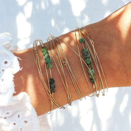bracelets joncs semainier perles turquoise destroy argent 925 ou or fait main bijoux créateur tendance