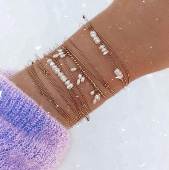 bracelets joncs semainier fin perles destroy argent 925 ou or fait main bijoux créateur tendance