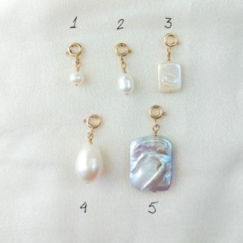 pendentifs charm's breloque perle blanche à accrocher et à personnaliser bijoux créateur français