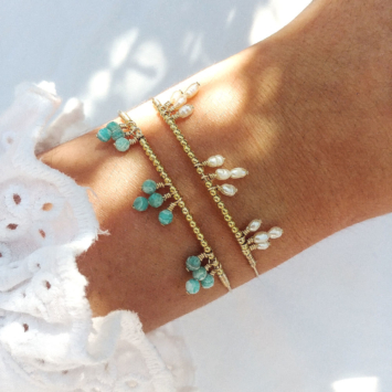 bracelet jonc pierre gemme turquoise amazonite perle eau douce bijoux or fait main bijoux créateur made in france