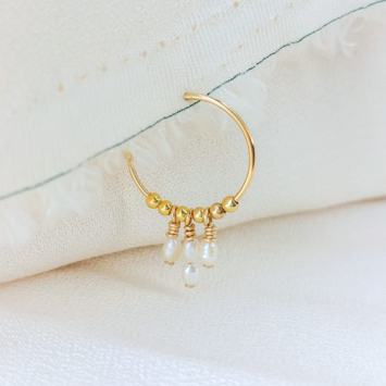 bijoux boucles d'oreilles plaqué or petites mini créoles perles or fait main france