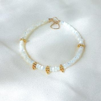 bracelet heishi nacre jonc bijoux or fait main bijoux créateur