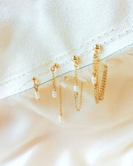 bijoux boucles d'oreilles plaqué or chaîne perle tendance bijoux creatrice france fait main