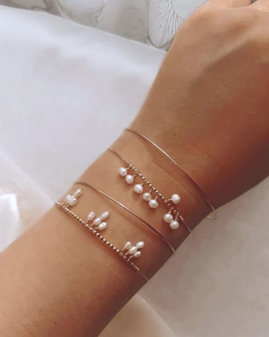 bracelets joncs semainier or perles simple destroy argent 925 ou or fait main bijoux créateur tendance