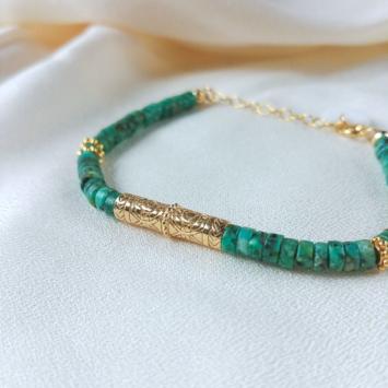 bracelet surfer heishi turquoise tube bali bijoux or fait main bijoux créateur
