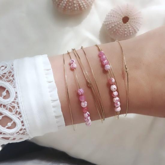 bracelets joncs semainier perles pierre agate rose destroy argent 925 ou or fait main bijoux créateur tendance