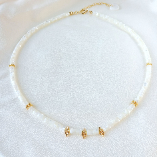 collier surfer heishi blanc nacre pierre semi précieuse fait main bijoux créateur france