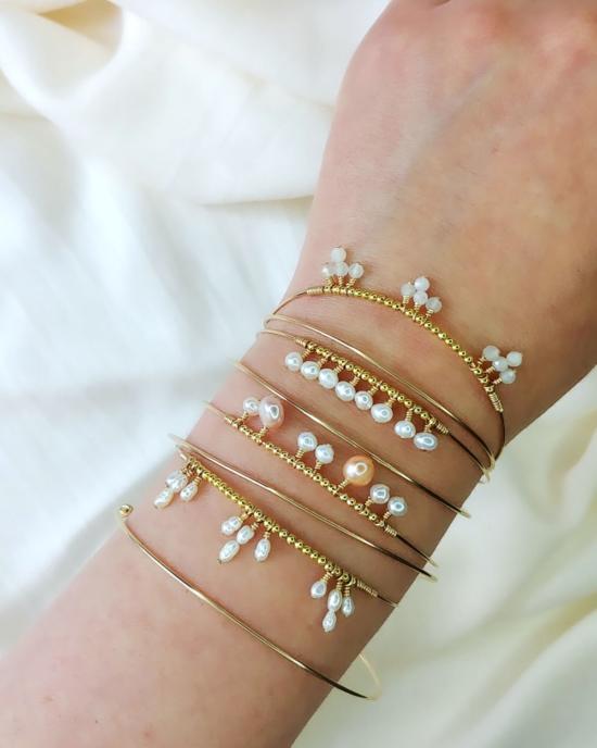 bracelets joncs semainier fin or perles simple destroy argent 925 ou or fait main bijoux créateur tendance