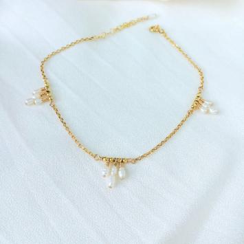 bracelet chaine de cheville perles blanc or fait main créatrice instagram france