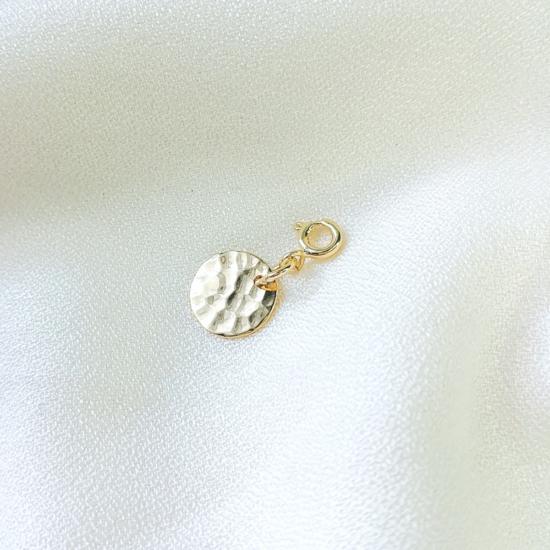 pendentif charm's médaille martelée plaqué or