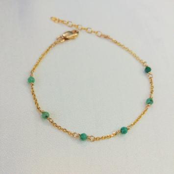 bracelet chaîne émeraudes pierre précieuse fait main créatrice france