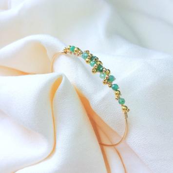 bracelet jonc tissage broderie pierre précieuse émeraudes bijoux or fait main bijoux créateur made in france