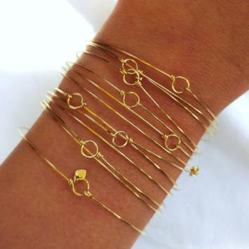 7 bracelets joncs semainier simple or argent destroy plaqué or fait main bijoux créateur france tendance