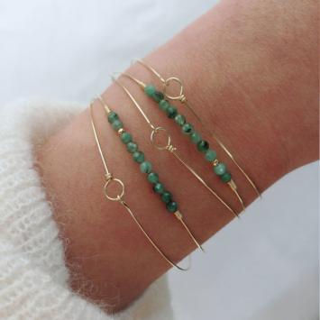 bracelets joncs semainier fin or simple destroy pierres précieuses émeraudes et or fait main en france bijoux créateur tendance